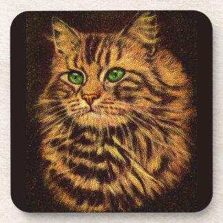 beautiful long-haired tabby cat coaster