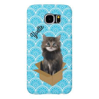 Blue Scalloped Print and Kitty Samsung S6 Case