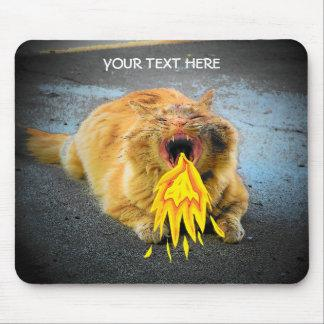 Catzilla has fire breath! mouse pad