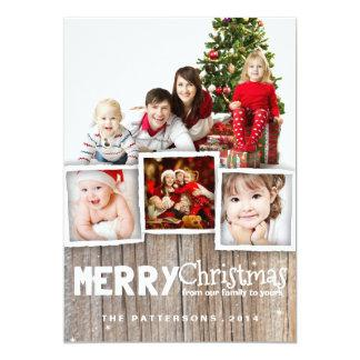 Country Rustic Wood Merry Christmas Photo Card