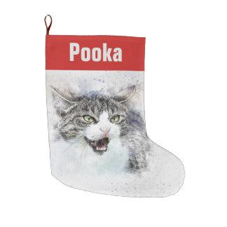 Customizable Maine Coon Cat Large Christmas Stocking