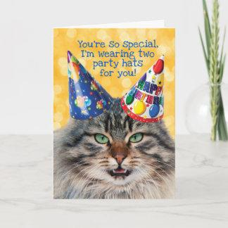 Funny Cat With Two Party Hats Birthday Greeting Card