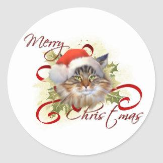 Maine Coon Cat Christmas Stickers