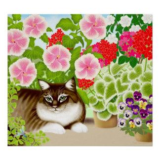 Maine Coon Cat in Garden Jungle Poster