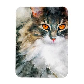 maine coon watercolor art magnet