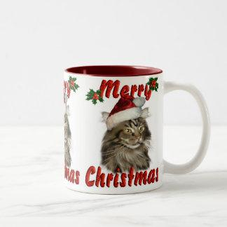 Merry Christmas Maine Coon Cat Two-Tone Coffee Mug