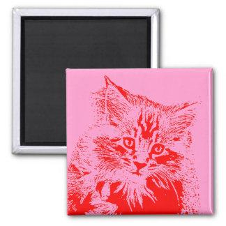Pink and Red Cat magnet