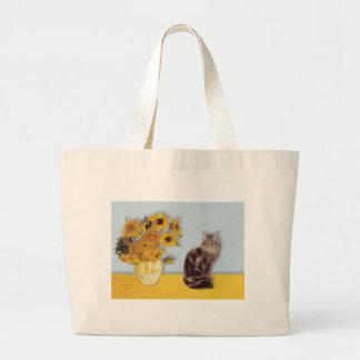 Sunflowers - Maine Coon cat 10 Jumbo Tote Bag