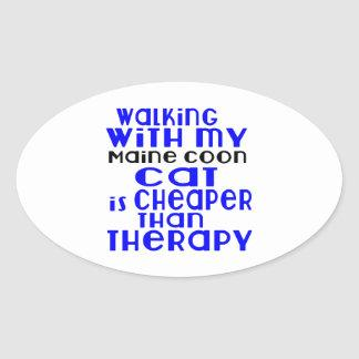 Walking With My Maine Coon Cat Designs Oval Sticker