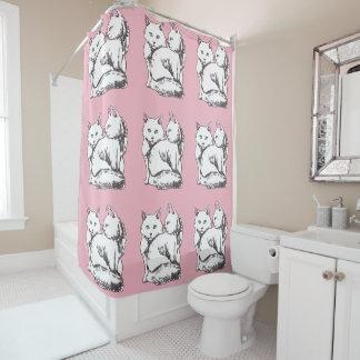 White Fluffy Cats Pink Shower Curtain