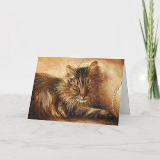 0005 Cat on Pillow Birthday Card
