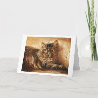 0005 Cat on Pillow Greeting Card