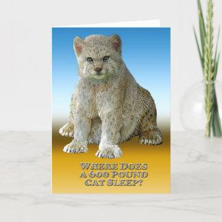 600 lb Cat Sleep - Vertical Greeting Card