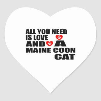 ALL YOU NEED IS LOVE MAINE COON CAT DESIGNS HEART STICKER