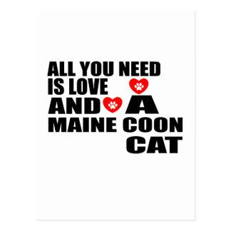 ALL YOU NEED IS LOVE MAINE COON CAT DESIGNS POSTCARD