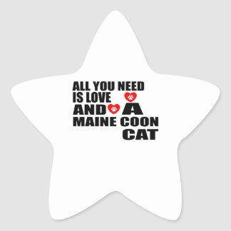ALL YOU NEED IS LOVE MAINE COON CAT DESIGNS STAR STICKER