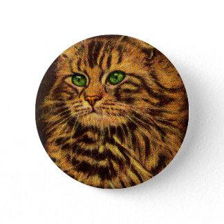 beautiful long-haired tabby cat pinback button