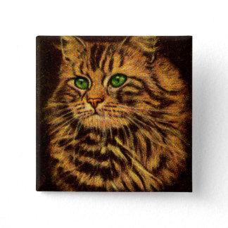 beautiful long-haired tabby cat print button