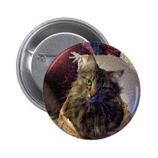 Beautiful Tabby Maine Coon Kitty Cat in a Basket Button