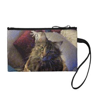 Beautiful Tabby Maine Coon Kitty Cat in a Basket Change Purse