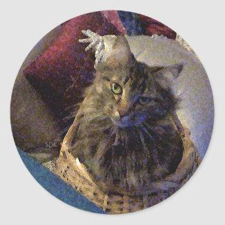 Beautiful Tabby Maine Coon Kitty Cat in a Basket Classic Round Sticker