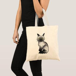 Black Smoke Maine Coon Cat Cartoon Illustration Tote Bag