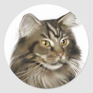 Black Tabby Maine Coon Cat Classic Round Sticker
