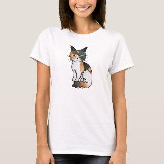 Calico Color Maine Coon Cat Cartoon Illustration T-Shirt