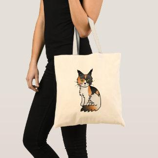 Calico Color Maine Coon Cat Cartoon Illustration Tote Bag