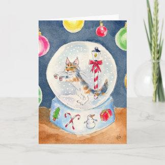 Cat in a Snow Globe greeting card