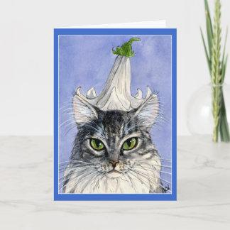 Cat with a Lily hat greeting card