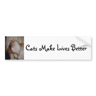 Cats make lives better bumper sticker