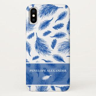 Chic Blue and White Botanical Pine with Name iPhone XS Case