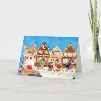 Christmas shopping mice and cat holiday card