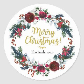Christmas Wreath, Gold Foil Merry Christmas Classic Round Sticker