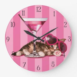 Cocktail maine coon large clock