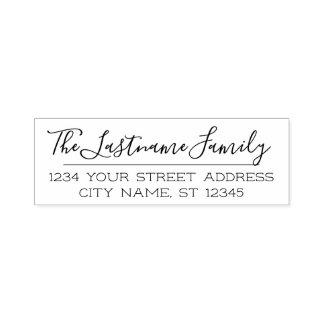 Custom Family Name and Return Address Handwritten Self-inking Stamp