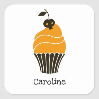 Cute cupcake with black skull personalized square sticker