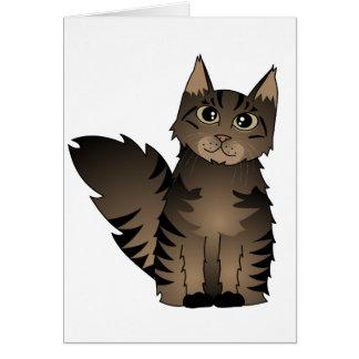 Cute Maine Coon Cat Cartoon - Brown Tabby Card