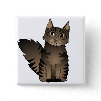 Cute Maine Coon Cat Cartoon - Brown Tabby Pinback Button