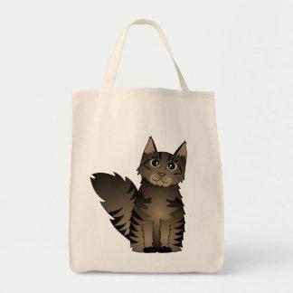 Cute Maine Coon Cat Cartoon - Brown Tabby Tote Bag
