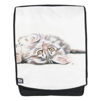 Cute Tabby Maine Coon Kitten Watercolor Backpack