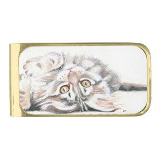 Cute Tabby Maine Coon Kitten Watercolor Gold Finish Money Clip