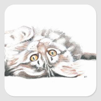 Cute Watercolor Maine Coon Kitty Square Sticker
