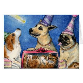 Dog's birthday party card