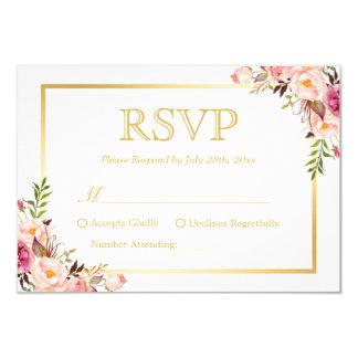 Elegant Chic Gold Pink Floral Wedding RSVP Reply Card