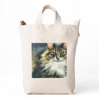 Funky Maine Coon Cat Art Duck Bag