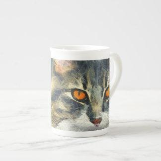 Funky Maine Coon Cat Art Tea Cup