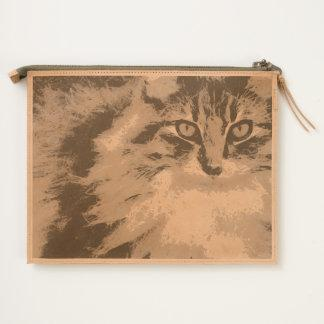 Funky Maine Coon Cat Art Travel Pouch