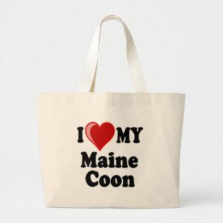I Love (Heart) My Maine Coon Cat Large Tote Bag